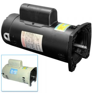 56y Pool Pump Motor 1 HP Square Flange Black Almond