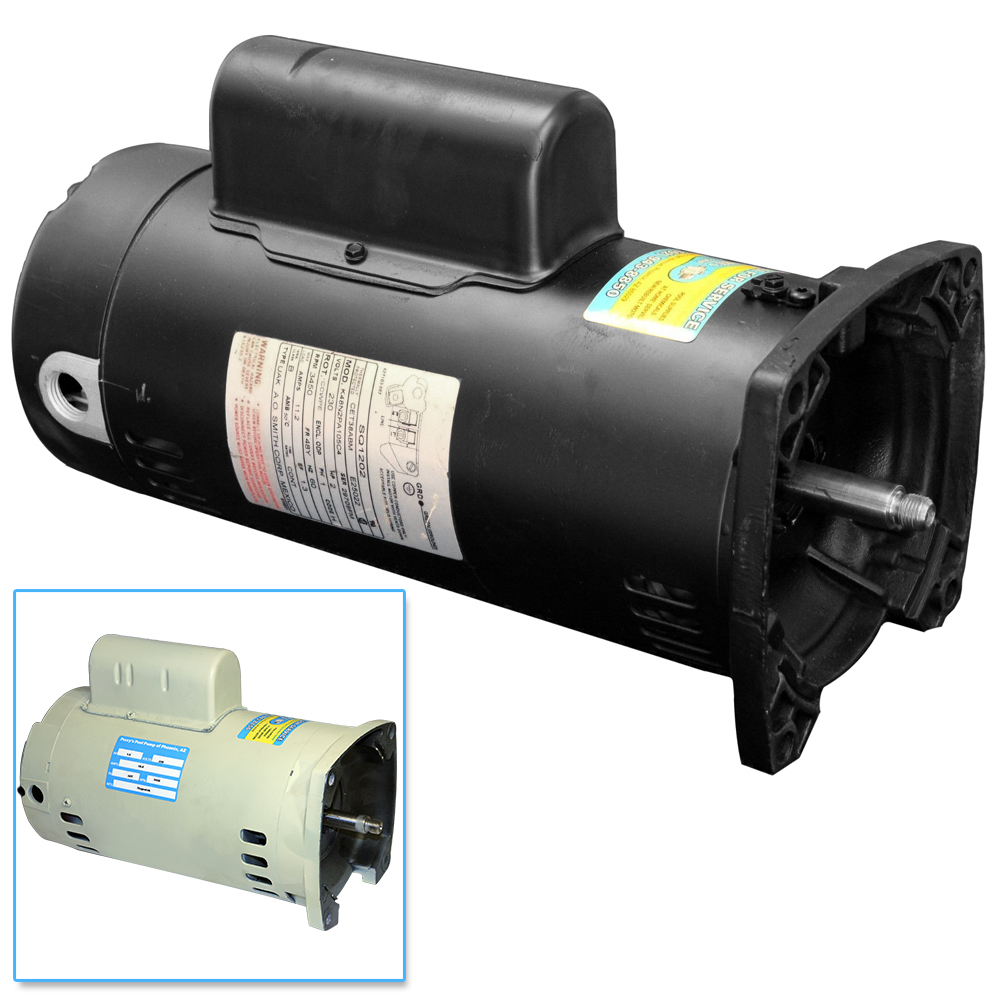56y pool pump motor 1 HP square flange black almond 1 hp 48y 56y motor 3450 rpm 115 230 volt perry's pool pump Hayward Pool Pumps 1.5 HP at readyjetset.co